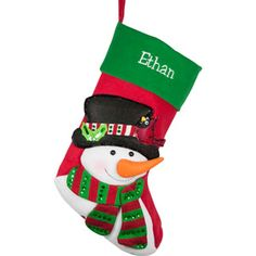 Personalized Sequins Character Christmas Stocking, Snowman