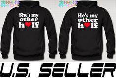She Is My Better Half Hoodie Couple Love Hoodie Love by TeesGame from teesgame on Etsy. Saved to Epic Wishlist. Matching Couple Outfits, Matching Couples, Cute Couples, Matching Clothes, Cute Couple Hoodies, Couple Shirts, Relationship Shirts, Relationship Goals, Best Friend Hoodies