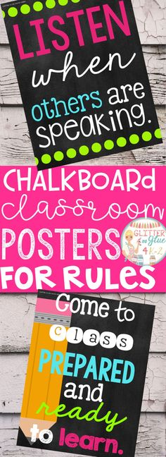 Display your classroom rules with a chalkboard theme with fun pops of color! Included are twelve different classroom rules with a black chalkboard background, white and neon lettering, and fun designs! Keywords: back to school, rule posters, posters for rules, teachers, kindergarten teacher, first grade, second grade, third grade, classroom management, classroom décor, chalkboard classroom, bright classroom, neon classroom