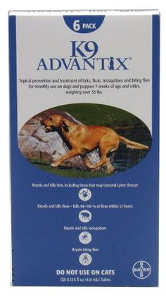 $60.99-$87.99 New Advantix Blue kills 98-100% of fleas on dogs within 12 hours and continues protection at least 4 weeks. Repels and kills a majority of ticks and mosquitoes. This is the ultimate protection for your dog! Each packet contains 6 applications providing 6 months of protection. Effective Flea & Tick Control . . . No Prescription Required!Guaranteed US EPA approved. Each package of K9  ...
