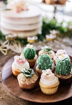 The cutest cupcakes! Succulent and cacti icing fairy cupcakes. These could definitley rival unicorn cupcakes Cactus Cupcakes, Succulent Cupcakes, Fairy Cupcakes, Unicorn Cupcakes, Themed Cupcakes, Fun Cupcakes, Just Desserts, Dessert Recipes, Wedding Desserts