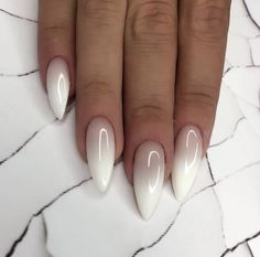 Almond Nails Ombre The almond nail is currently a trending nail shape and is one of the most classic looks around. It is most common in the office, business meetings and celebrities. There are plenty of different options for almond nail Nail Art Designs Images, Ombre Nail Designs, Almond Nails Designs, White Nail Designs, Almond Shaped Nail Designs, Gorgeous Nails, Pretty Nails, How To Do Nails, Fun Nails