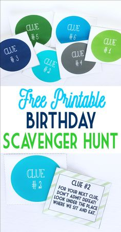 Free birthday scavenger hunt! This is so cute and easy. I just did this for my sweeties birthday and he loved it!