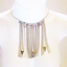 Steve Madden Fringe Gold Silver Stone Flower Beaded Necklace NWT #SteveMadden #Fringe
