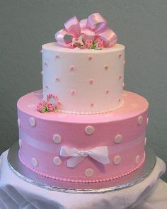 Pink Polka Dot Baby Shower Cake by Graceful Cake Creations, via Flickr