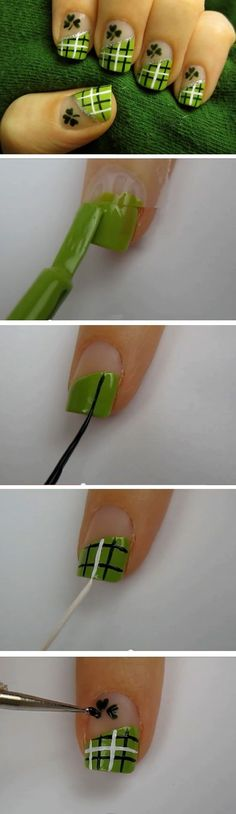 Nails - Lucky Green Plaid | Click Pic for 19 Easy St Patricks Day Nail Designs | Easy Nail Art for Beginners Step by Step