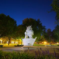 Ole the Viking statue on a summer evening at Augustana University