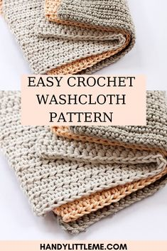 Make a cotton crochet washcloth with this really easy pattern.This is part of a bathroom set of crochet patterns that are available for you to make, which includes a crochet shower puff, crochet basket, face scrubbies and soap bags. Crochet Kitchen, Crochet Home, Crochet Crafts, Crochet Baby, Crochet Projects, Free Crochet, Washcloth Crochet, Beginner Crochet, Kids Crochet