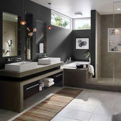 Exterior Of Homes Designs minimalist monochrome bathroom modern bathroom colors dark gray wall paint tile flooring Modern Contemporary Bathrooms, Modern Bathroom Decor, Bathroom Colors, Modern Room, Bathroom Interior, Bathroom Ideas, Bathroom Trends, Bathroom Vanities, Bathroom Wall