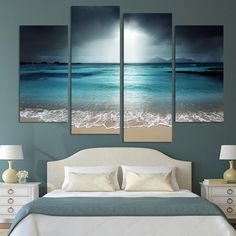 You'll find an eternal retreat in this 4 piece, lifelike painting of where the ocean meets the sand. PRODUCT HIGHTLIGHTS - 4 piece canvas painting set of beautiful ocean and beach scene. - Vivid color HD ink on quality fiber canvas. - Eco-friendly, environmentally-conscious canvas material, paints, ink. - Waterproof. Fadeproof. - Framing available/optional. - Size(s): See Images for Size Descriptions. - FREE SHIPPING SPECIFICATIONS Home Decor For: Wall, Living Room, Bedroom, Dining Room…