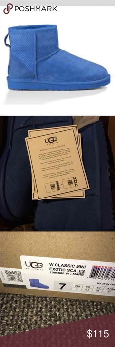 UGG CLASSIC MINI EXOTIC SCALES BOOTS Brand new in box. Size 7. The stock photo is the best representation of the actual color-my photo makes them look a bit dark, but they are a brighter, cobalt blue. Classic mini exotic scales. UGG Shoes Ankle Boots & Booties