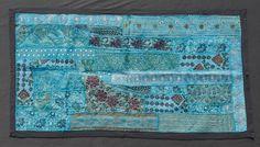 Vintage Sari Wall Hanging, Turquoise http://naggarvalley.com/product/vintage-sari-wall-hanging-69cm-x-128cm/
