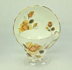 Regency Yellow Rose Bone China Tea Cup & Saucer ENGLAND #Regency