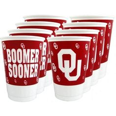 Oklahoma Sooners Beverage Cups, perfect for tailgating or flip cup! #ou