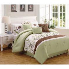 Better Homes and Gardens 7-Piece Sage & Brown Vines Bedding Comforter Set