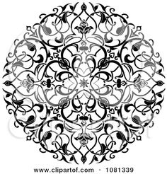 Clipart Black And White Ornate Floral Circle Tattoo Design Element - Royalty Free Vector Illustration by Geo Images