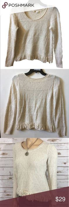 """Anthropologie fringed pullover by Moth - size XS Anthropologie pullover sweater by Moth - size XS Fringed hem detail Multi-color specs throughout  Bust: approx 17"""" Length: 21"""" Cotton, acrylic, poly, wool, nylon, spandex.  Lightweight, soft, and comfortable.  Great pre-loved condition. Anthropologie Sweaters"""