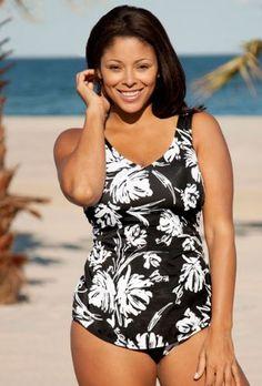 edf87147c32d8 Beach Belle Splash Plus Size Sarong Front Swimsuit - Women s Swimwear Plus  Size Swimsuit