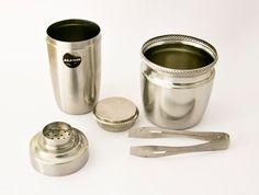 Alessi shaker and ice bucket   Shaker  20 cm x 13 cm Ice bucket  12.5 cm x 12.5 cm Tongs 16cm long [in box]