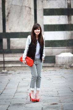striped black pant + teddy + red shoes