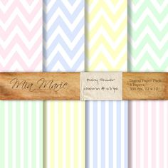 Digital Paper Pack, baby shower, nursery, chevron, stripes, pastel, pink, blue, yellow, mint green