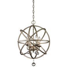 Showcase traditional style in your living space with the Acadia four-light pedant. Distinctly crafted with a sphere shape, this lighting fixture has a one-of-a-kind style due to its dangling crystal spheres.