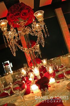 red rose wedding center pieces | Red rose crystal centerpiece by Bella by Sara