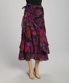 The OM Company Purple Floral Ruffle Wrap Skirt