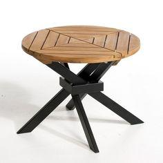 Une table d'appoint, pliable, qui ensoleillera votre terrasse par tous   les temps ! Caractéristiques :- En acacia : plateau teinté teck, piètement noir mat. - Prêt à monter, notice jointe.Dimensions :- Ø.50, H.40 cm.Dimensions et poids du colis :- L.53 x H.7 x P52 cm, 5 kg