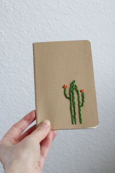 Cactus hand embroidered moleskine pocket notebook