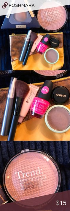Makeup Bundle Bag (New & Used) Brands & products included : Ellen Tracy Beauty Blender  Clinique Mascara: Black Nomad Eyebrow Powder PIXI bronzer: Petra  Hanalei: Rose Lip Treatment LA Color Nailpolish:516 shade Trend Strobing Hilight with Brush #makeup #makeupbundle #nailpolish #eyebrowpowder #nomad #beautyblender #clinique #bronzer #pixibypetra #hilightbrush #new #used #hilight  #strobe Clinique Makeup Bronzer