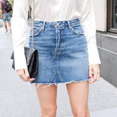 Trash To Couture: DIY Denim Skirt From Jeans.