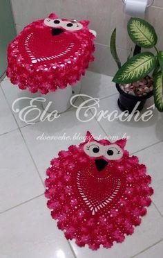Elo Crochê by Eloiza Castro: JOGO DE BANHEIRO CORUJINHAS CHARMOSAS