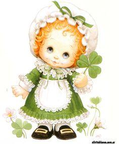 san patricio Vintage Cards, Vintage Images, St Patricks Day Cards, Sarah Key, Cute Kids Pics, Baby Album, Holly Hobbie, Cute Images, Illustrations