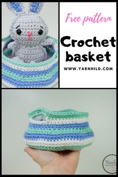 Make this easy basket using up your leftover yarn. The basket is for beginners and very quick and easy to make. The crochet basket can be made with one color, or striped. Put your own spin on it! #crochetbasket #leftoveryarn #freecrochetpattern Crochet Home, Crochet Crafts, Crochet Yarn, Crochet Projects, Free Crochet, Crochet Basket Pattern, Crochet Patterns, Crochet Ideas, Single Crochet Decrease