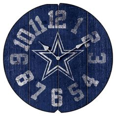 Add vintage-inspired, pro football flair to your office or man cave with the NFL Vintage Wall Clock. Boasting bold numbers in official team colors, this weathered round wall clock features the logo of your favorite team and is a great accent in any room. Dallas Cowboys Decor, Cowboys Bar, Cowboys Football, Nfl Baltimore Ravens, Nfl Denver Broncos, Minnesota Vikings, New England Patriots, Vintage Walls, Man Cave