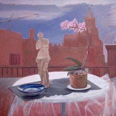 """Still Life on a Balcony"" by Jane Freilicher, 1987. Oil on linen. Courtesy of Tibor De Nagy Gallery."