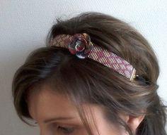 Headband Tissé / Bijou de Tête / Bandeau Cheveux / Serre Tête Motif Géométrique en Perles et Fleur en Fimo *** NOEL*** : Accessoires coiffure par emma-shop