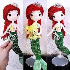 Thanks to my mermaid 🐚 English version pattern tester. Crochet Fish, Crochet Mermaid, Mermaid Diy, Mermaid Dolls, Diy Crochet, Crochet Baby, Kawaii Crochet, Crochet Disney, Doll Patterns