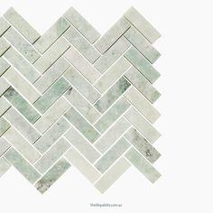 Silver Sage Herringbone Honed Stone Mosaic @thetileplatte Honed Marble, Marble Mosaic, Stone Mosaic, Silver Sage, Herringbone Tile, Clear Lake, Granny Flat, Scandinavian Art, Pink Stone