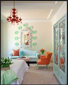 Amazing Red Chandelier Models: Eclectic Bedroom Design Interior With Contemporary Sofa Furniture And Red Chandelier Lighting Decoration Idea. House Of Turquoise, Orange And Turquoise, Mint Green, Blue Orange, Turquoise Accents, Jade Green, Orange Color, Green Tangerine, Orange Sofa