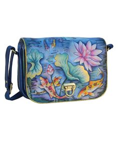 Look at this Karmic Koi Hand-Painted Leather Accordion Crossbody Bag on #zulily today!