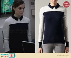 Jemma's navy and white collared sweater on Agents of SHIELD. Outfit Details: http://wornontv.net/28511 #AgentsofSHIELD #fashion