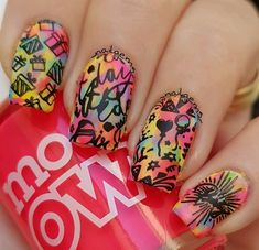 Looking for really NEW ideas of BIRTHDAY NAILS? We`ve found 70 cute pictures with B-day manicure for all ages. Birthday Nail Art, Birthday Nail Designs, 70th Birthday, Happy Birthday, Kit, Nail Arts, Bright, Manicure, Ballerina