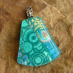 Love this color!!  >>>>> Dichroic Fused Glass Pendant Green Fused Glass Pendant by GlassCat, $20.00