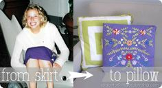 Turn an old skirt into a pillow