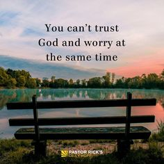 You can't trust God and worry at the same time. #DailyHope #Godquotes Quotes About God, Trusting God Quotes, Gods Love Quotes, Faith Quotes, God Loves You Quotes, Bible Quotes, Bible Verses, Me Quotes, Reminder Quotes