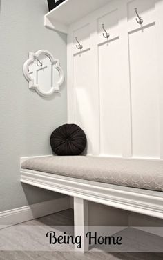Mudroom bench left side. I want a mudroom so bad!! Love that AZ is finally building houses with them. :)