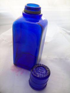 RARE Vintage Cobalt Glass Medicine Bottle by ShabbyVintageShop, $24.99