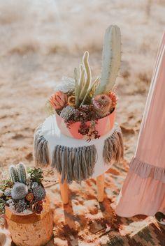 Desert Inspired centerpieces for Joshua Tree Elopement by Willi Wildflower